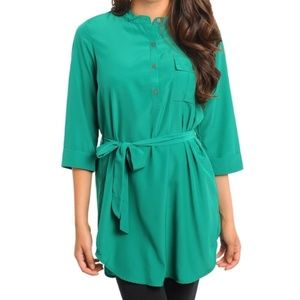 Tops - Kelly Green Belted Pocket Henley Tunic Top